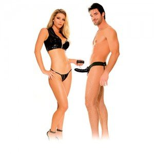 Hollow Black Vibrating Strap-On